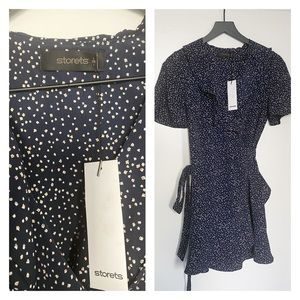 Storets Navy blue floral ruffle mini dress new!